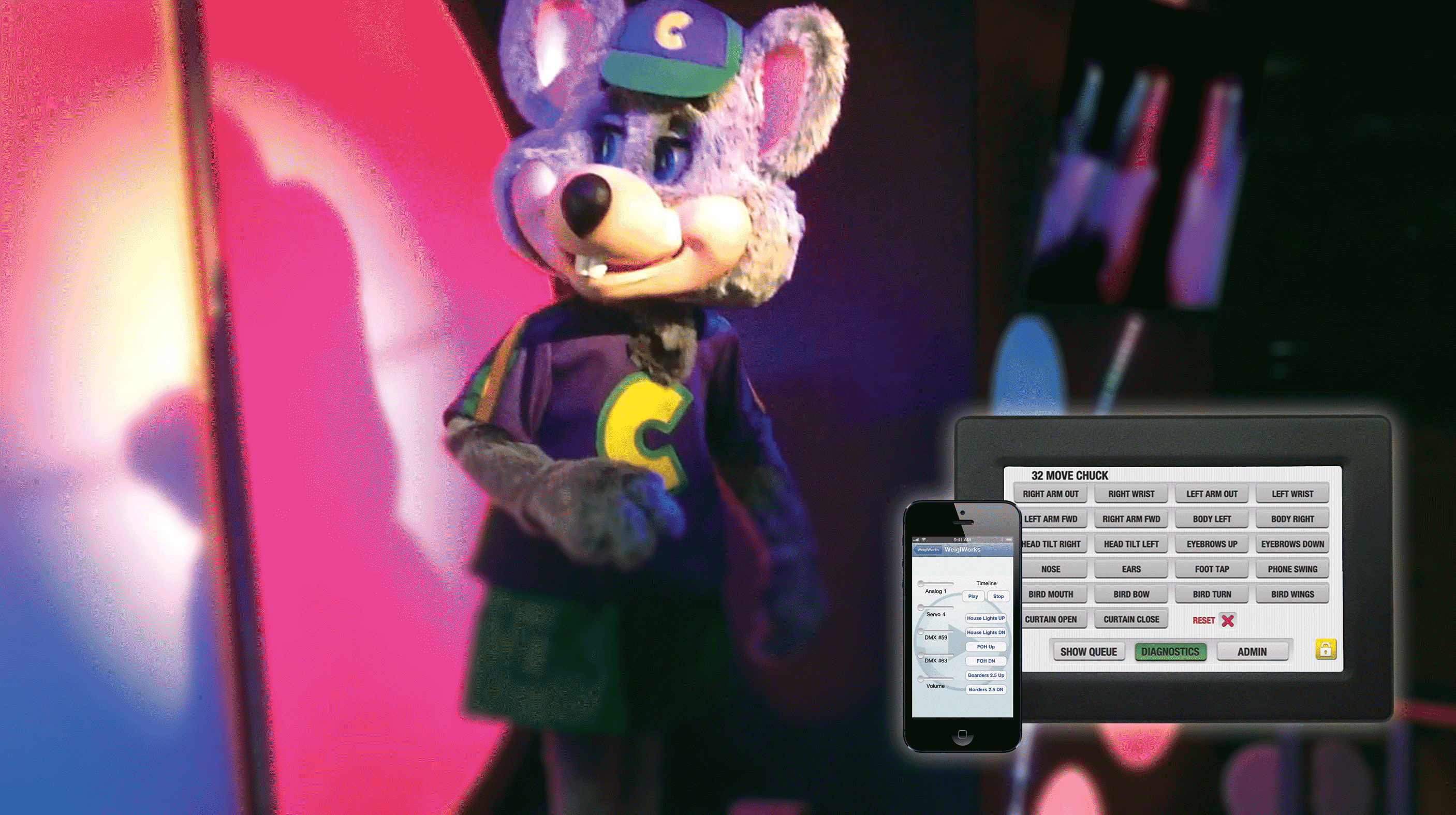 "Control the Smiles: Chuck E. Cheese's ""Circles of Light"" Stage"