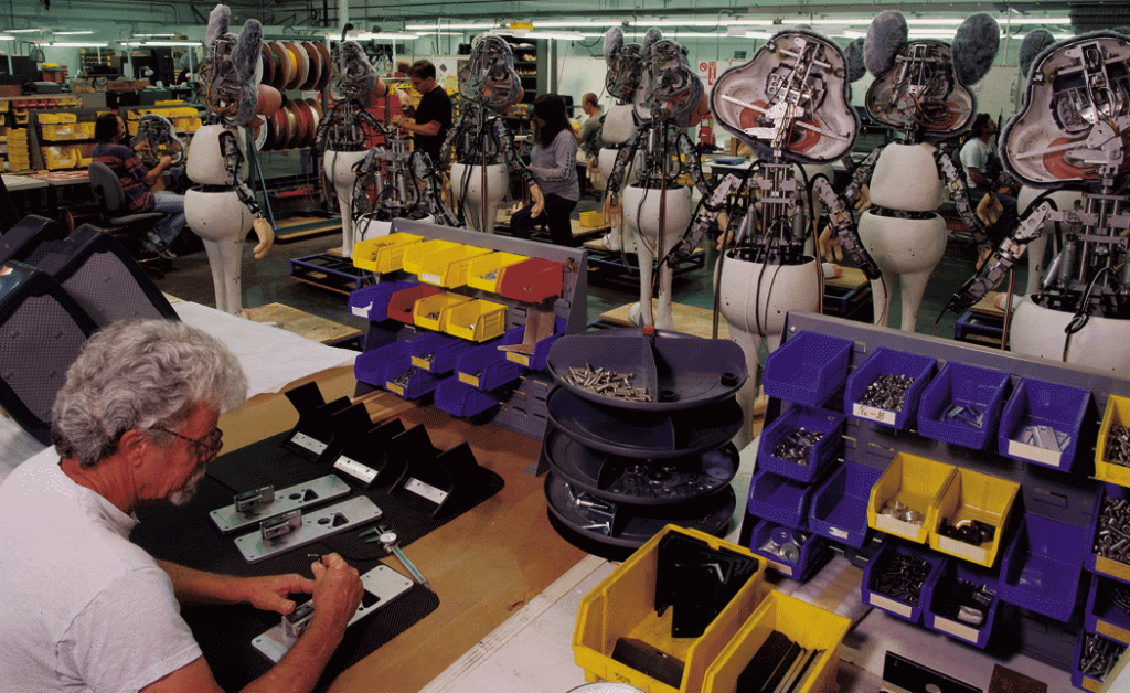 Fabrication of animatronic Chuck E. Cheese characters by Garner Holt Productions.